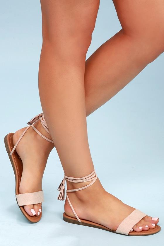 Vintage Sandal History: Retro 1920s to 1970s Sandals Leyla Natural Suede Flat Lace-Up Sandal Heels - Lulus $19.00 AT vintagedancer.com