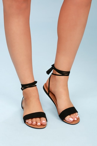 52d7617d6 Leyla Black Suede Flat Lace-Up Sandals