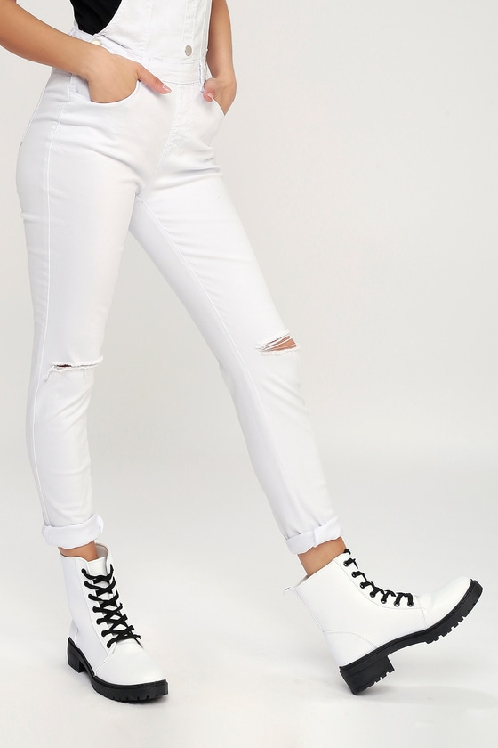 Cool White Boots Combat Boots Lace Up Boots