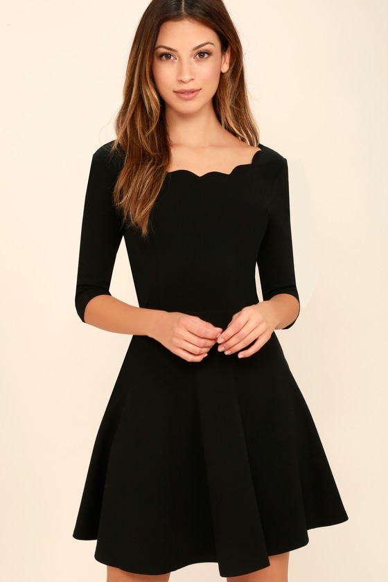 9a9ba3fc165 Little Black Dress - Scalloped Dress - Skater Dress