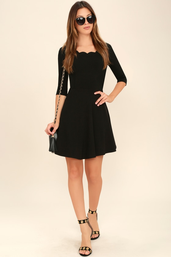 Little Black Dress - Scalloped Dress - Skater Dress 29f1e993b263