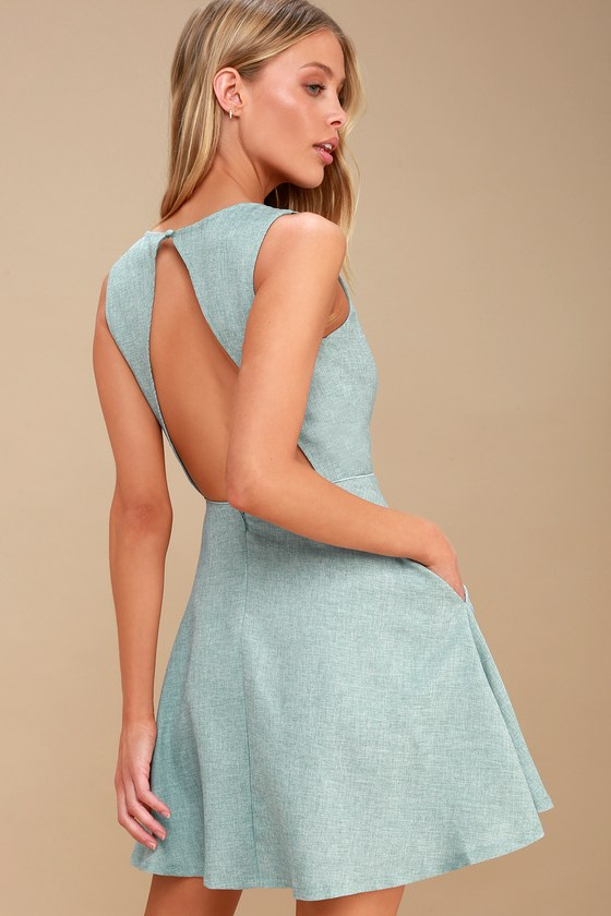 31a3acac0f2a2 Winsome Mint Blue Backless Skater Dress
