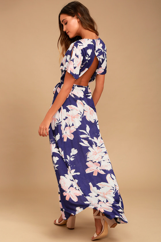 4473711e5c1b Navy Blue Floral Print Dress - Wrap Dress - Open Back Dress