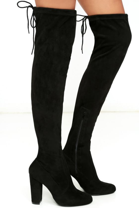 Chic Black Suede Boots - Black Over the