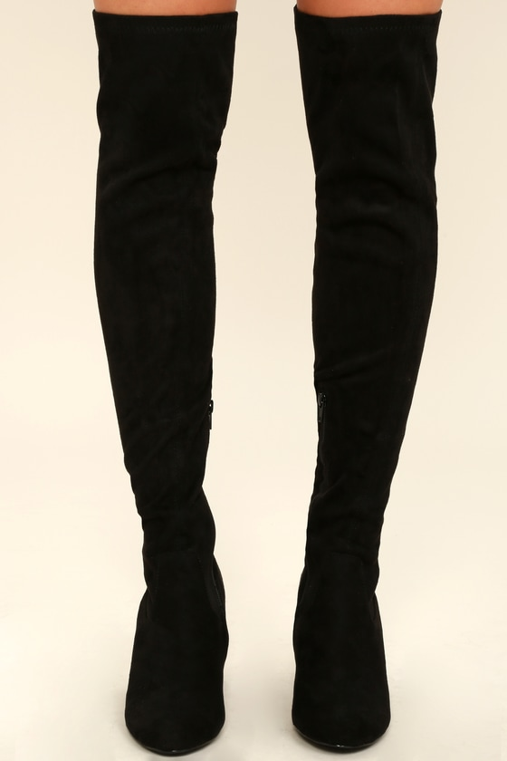 04eff08c8fe Stylish Black Suede Boots - Over the Knee Boots - Black Boots -  46.00