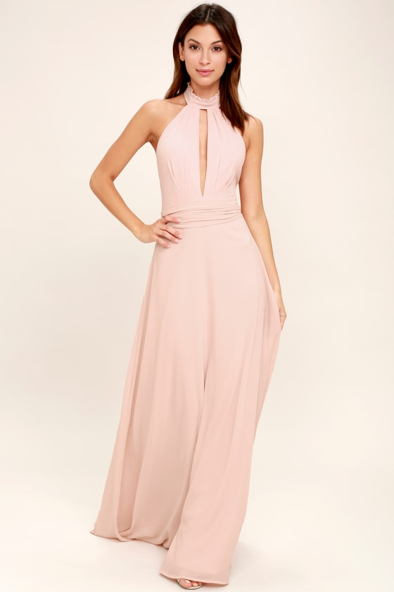 8ae6226bf38a Stunning Blush Pink Maxi Dress - Halter Maxi - Backless Maxi - $89.00
