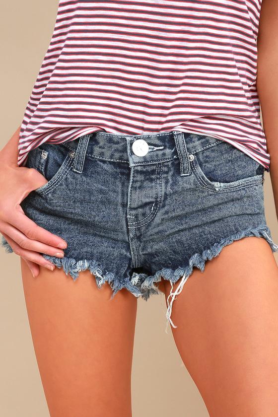 Bonita Medium Wash Distressed Cutoff Denim Shorts by One X One Teaspoon