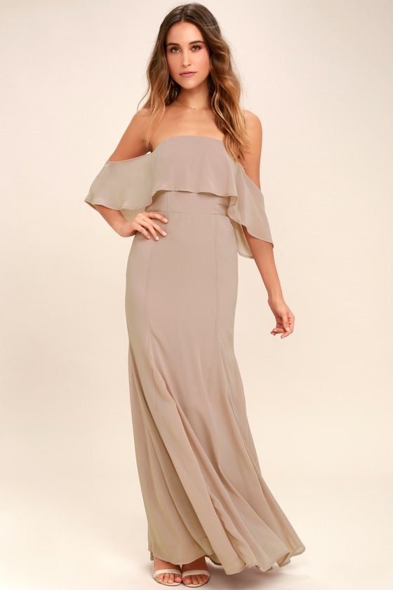 Lovely Taupe Dress Off The Shoulder Dress Maxi Dress