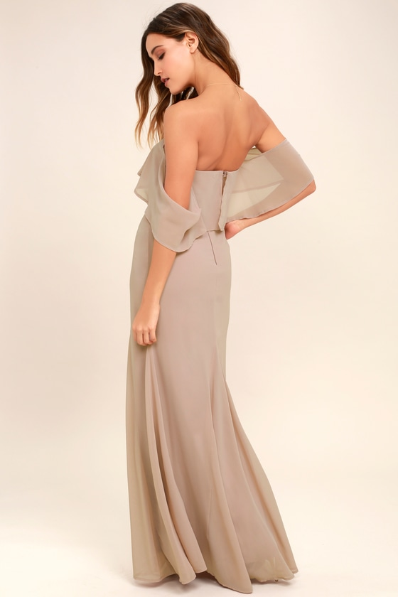 98a3fddf0e9e Lovely Taupe Dress - Off-the-Shoulder Dress - Maxi Dress