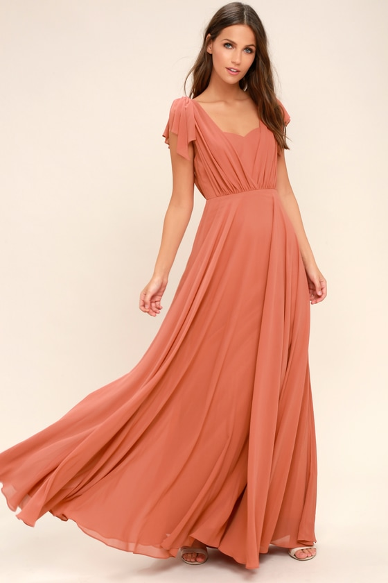 Easy DIY Edwardian Titanic Costumes 1910-1915 Falling For You Rusty Rose Maxi Dress - Lulus $91.00 AT vintagedancer.com