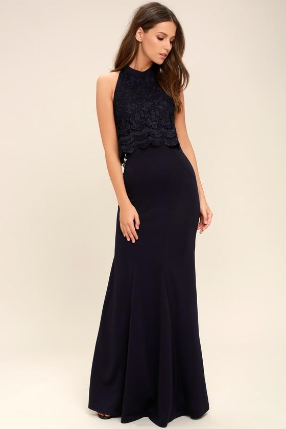 acd9fad55936 Lovely Navy Blue Dress - Lace Dress - Maxi Dress -  98.00