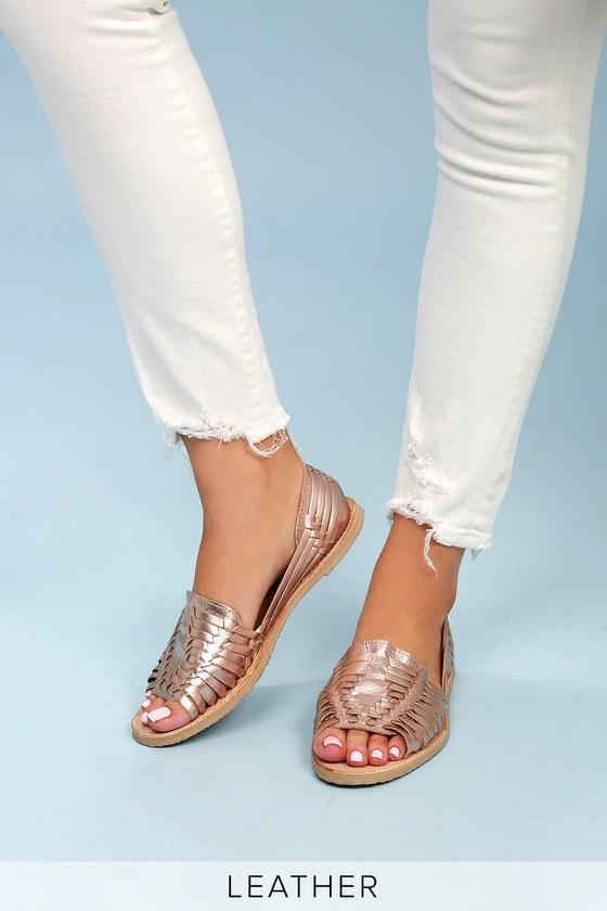 Rose Gold Leather Huarache Sandals - Lulus