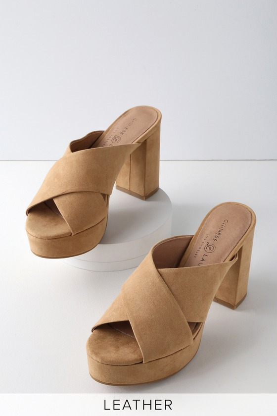 4499c1b3f02 Chinese Laundry Teagan - Camel Suede Leather Mules