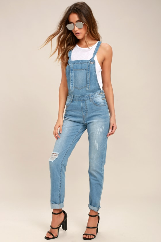 1f30bf352dd6 Cool Light Wash Overalls - Distressed Overalls - Denim Overalls -  67.00