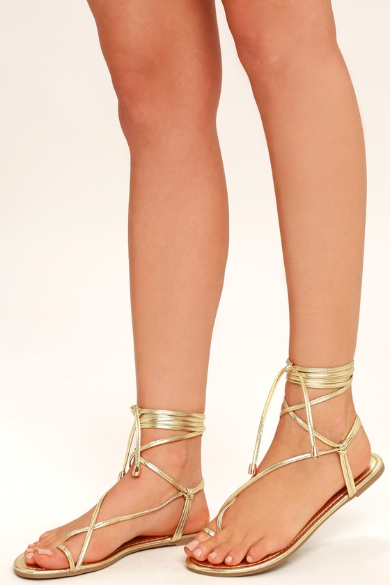 e8bfc7c879e4 Cute Light Gold Sandals - Flat Sandals - Lace-Up Sandals