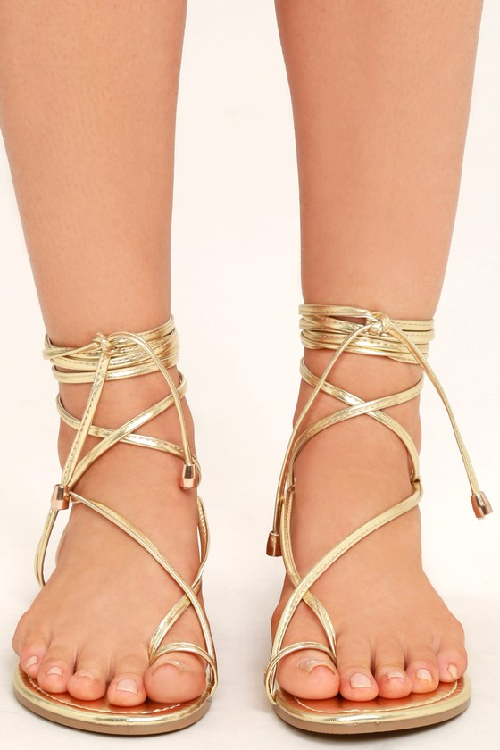 14de2be16 Cute Light Gold Sandals - Flat Sandals - Lace-Up Sandals