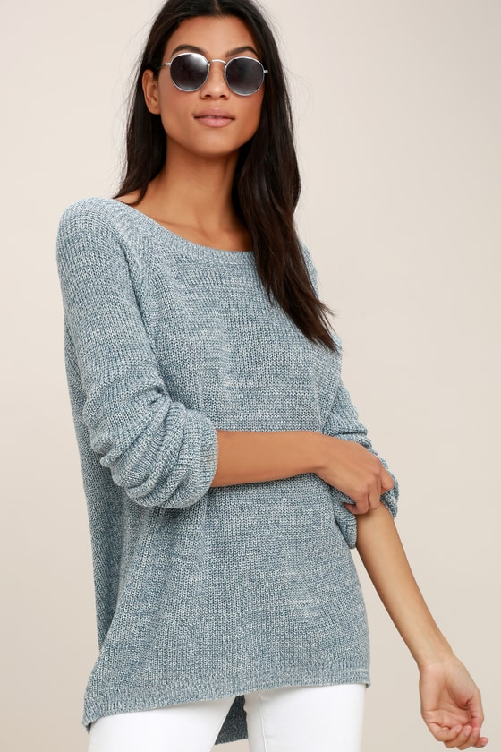 87362c7fec Sexy Heather Blue Sweater - Oversized Sweater - Backless Sweater