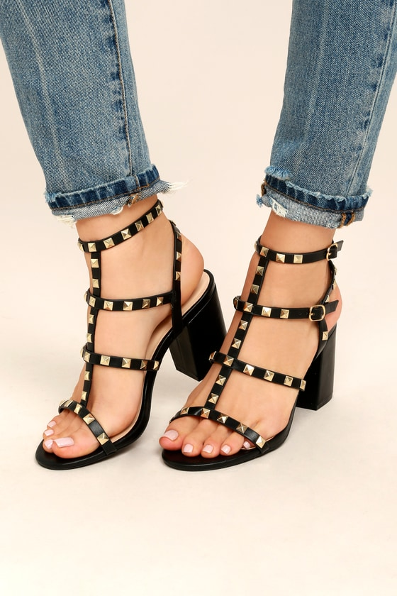 9a2d3cb6a5 Black Studded Heels - Studded Block Heels - Ankle Strap Heels
