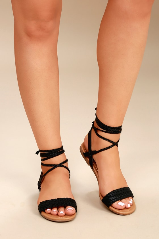 7eda46500cf Cute Black Sandals - Flat Sandals - Lace-Up Sandals