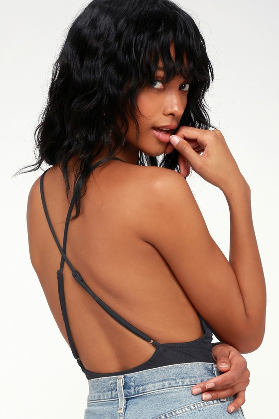Always Appealing Washed Black Surplice Bodysuit by Lulus