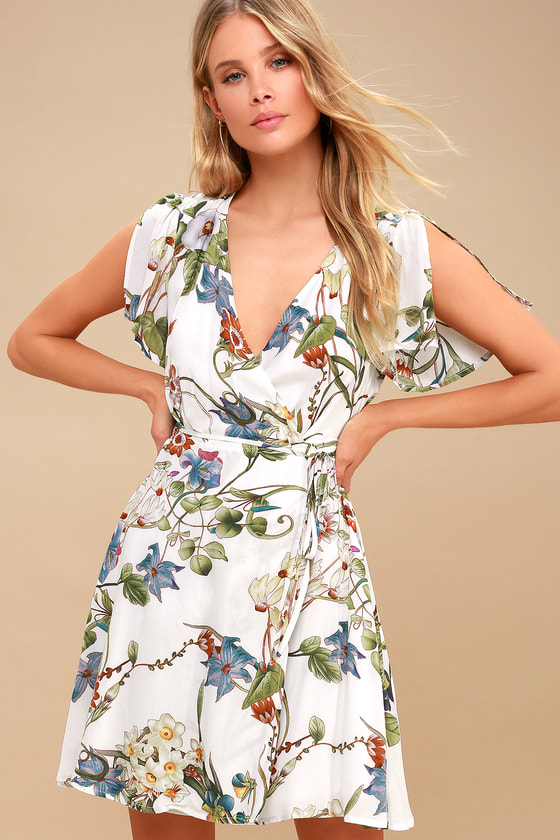 e7790308810 Ivory Print Dress -Mini Wrap Dress - Floral Print Wrap Dress