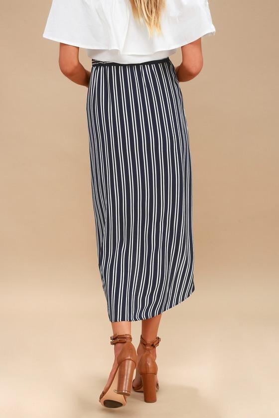 427bf337df Cute Blue and White Skirt - Striped Skirt - Wrap Skirt - Midi Skirt ...