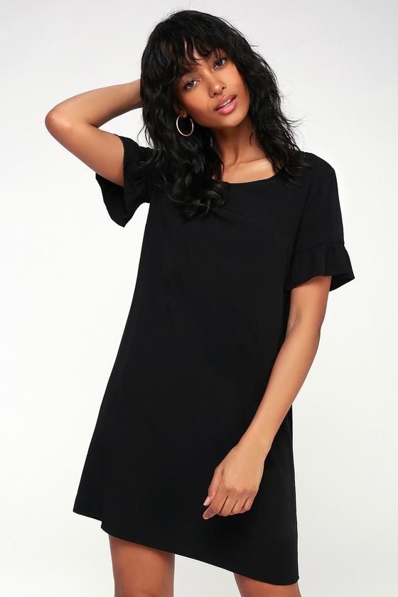 bd62f7b03c6 Cute Black Shift Dress - Ruffle Shift Dress - Short Dress