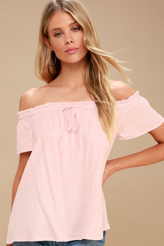 249f66aa8e Cute Blush Top - Off-the-Shoulder Top - Front Tie Top