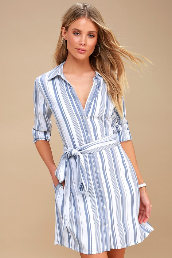 ce14ba4bbe Chic Striped Shirt Dress - Button Down Shirt Dress