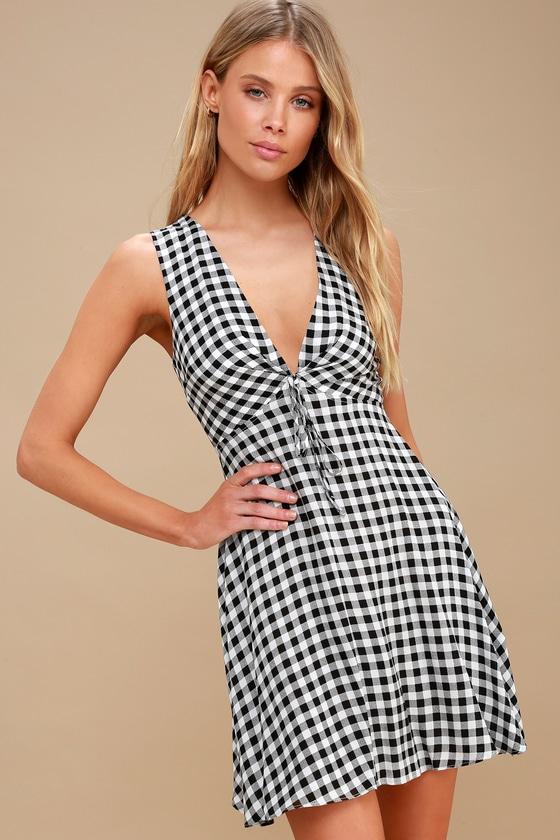 f7dd5b2a8255 Chic Black and White Gingham Dress - Skater Dress