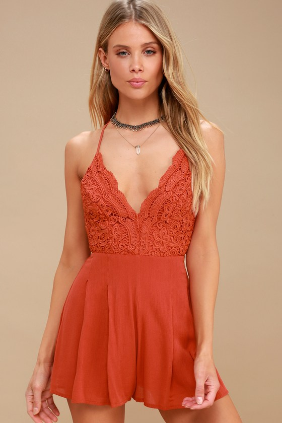 0fc4c09289d1 Star Spangled Rust Red Backless Lace Romper - Lulus.com