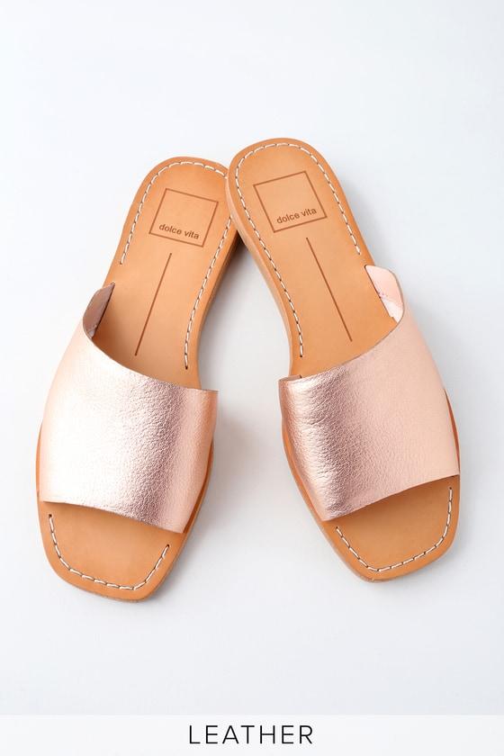 610571fde44 Dolce Vita Cato - Rose Gold Sandals - Leather Slide Sandals