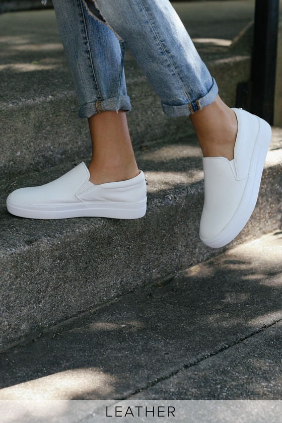 49bcd1a5af11 Steve Madden Gills - White Leather Sneakers