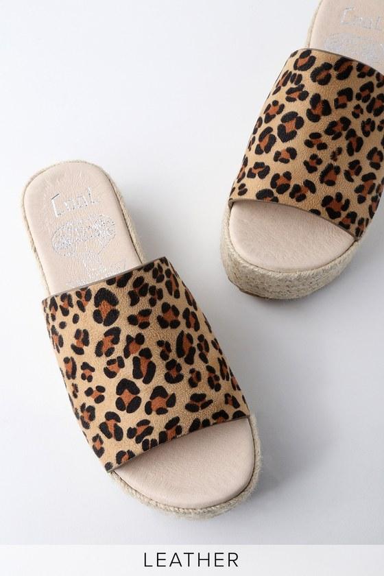 593523d4b4a1 Coolway Bory - Leopard Espadrille Slides - Flatform Slides