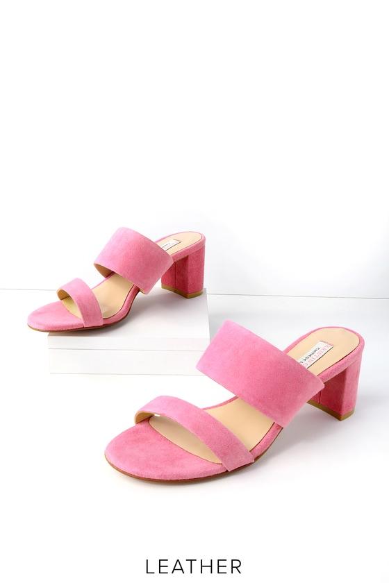 Lulus Cato Fuchsia Genuine Suede Leather Slide Sandal Heels - Lulus k7EkWEL