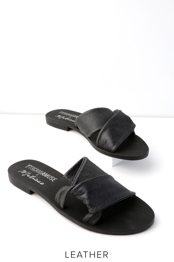 76ddc7ba5faa Amuse Society x Matisse Capri - Leather Slides- Black Slides
