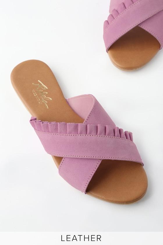 6917f7a39ffd Rebels Daray - Lilac Sandals - Slide Sandals - Flat Sandals