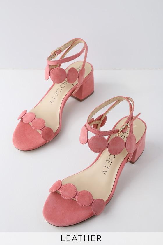25c2da4e15fb Sole Society Shea Pink - Kid Suede Leather Dress Sandals
