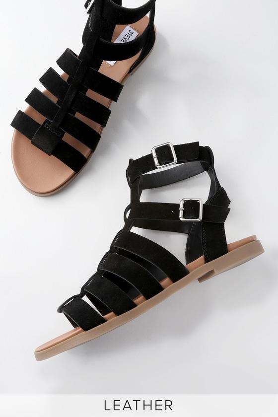 a49ca96044fec Steve Madden Diego - Black Gladiator Sandals - Suede Sandals