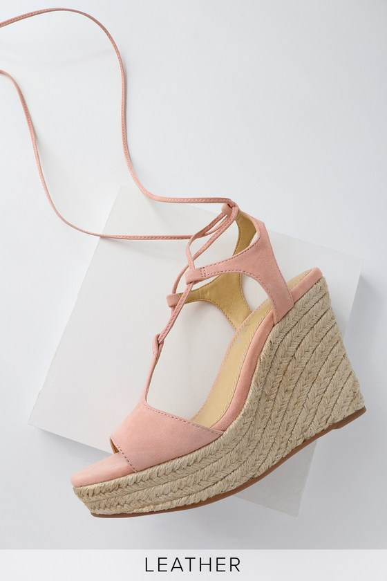 fbff9589b10 Fianna Blush Suede Leather Lace-Up Espadrille Wedges