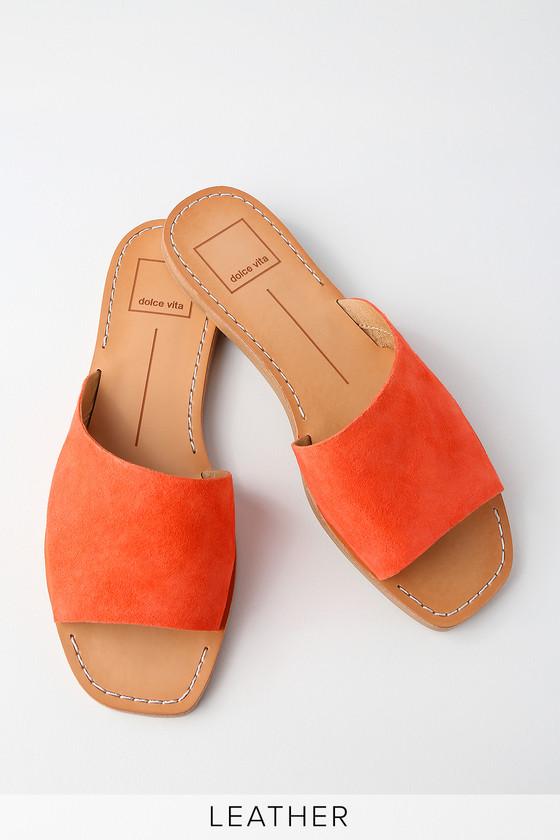 6948e7a29b7 Dolce Vita Cato - Orange Slide Sandals - Suede Slide Sandals