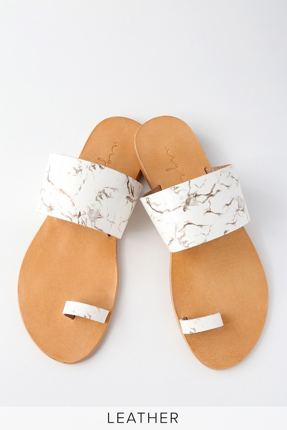 35d4c810a30111 Urge Nimbin - White Marble Leather Sandals - Flat Sandals