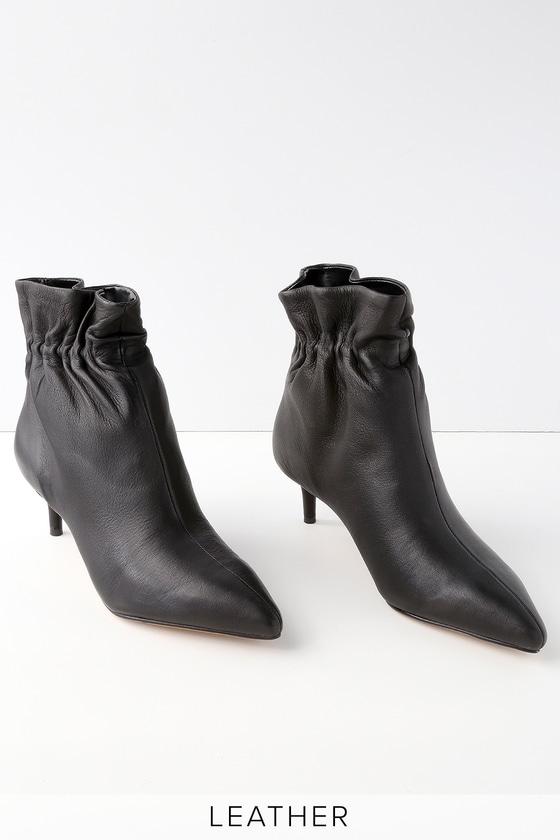 4867d45666a1 Dolce Vita Rain - Black Leather Booties - Kitten Heel Boots