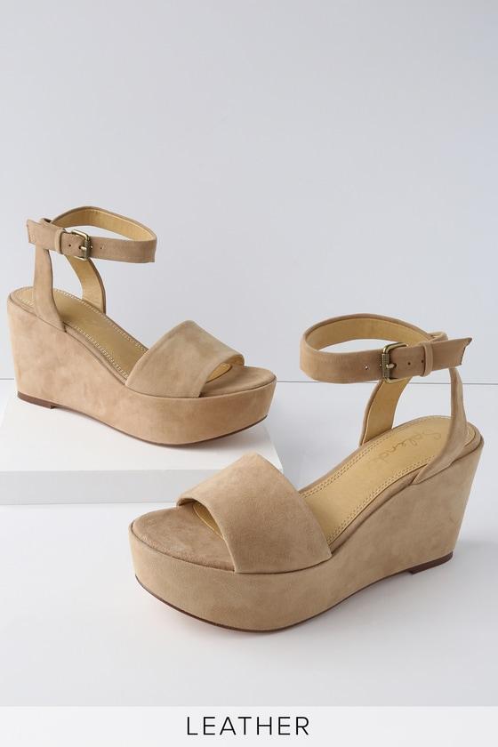 e850f3293abf Splendid Felix - Beige Suede Sandals - Platform Wedges