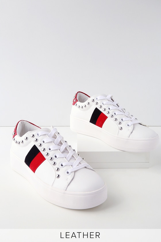 aff8e0eb2df Steve Madden Belle - White Sneakers - Striped Sneakers