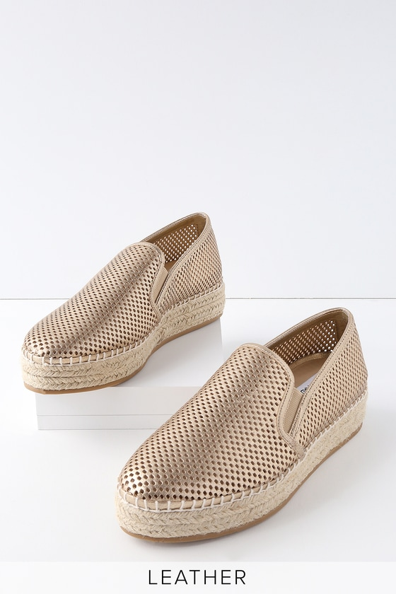 16c7a6fbcb4 Wright Gold Leather Perforated Slip-On Espadrille Sneakers