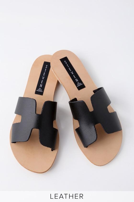 2ff67a29291 Steven by Steve Madden Greece - Black Leather Slide Sandals
