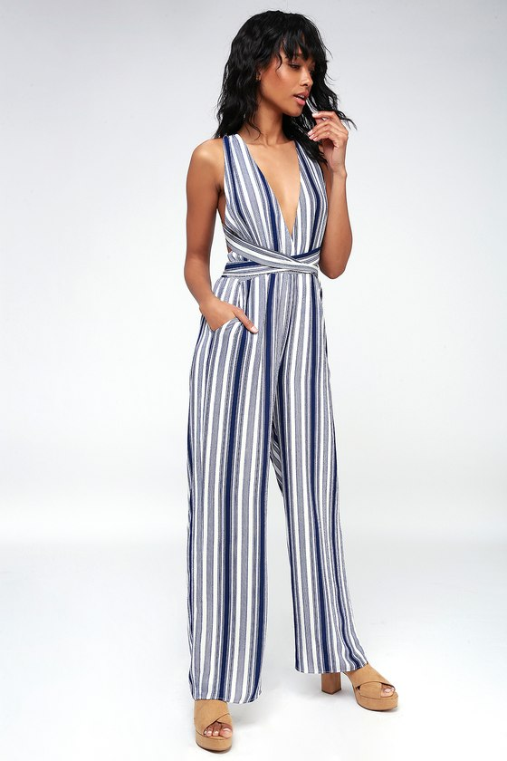 famous brand first rate buy popular Navy Blue and White Striped Jumpsuit - Halter Jumpsuit