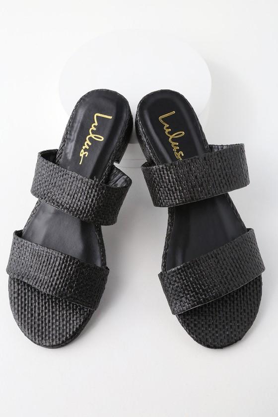 81c30c58bb0 Decker Black Woven Slide Sandals