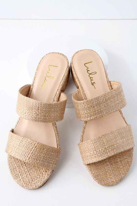 DECKER NATURAL WOVEN SLIDE SANDALS